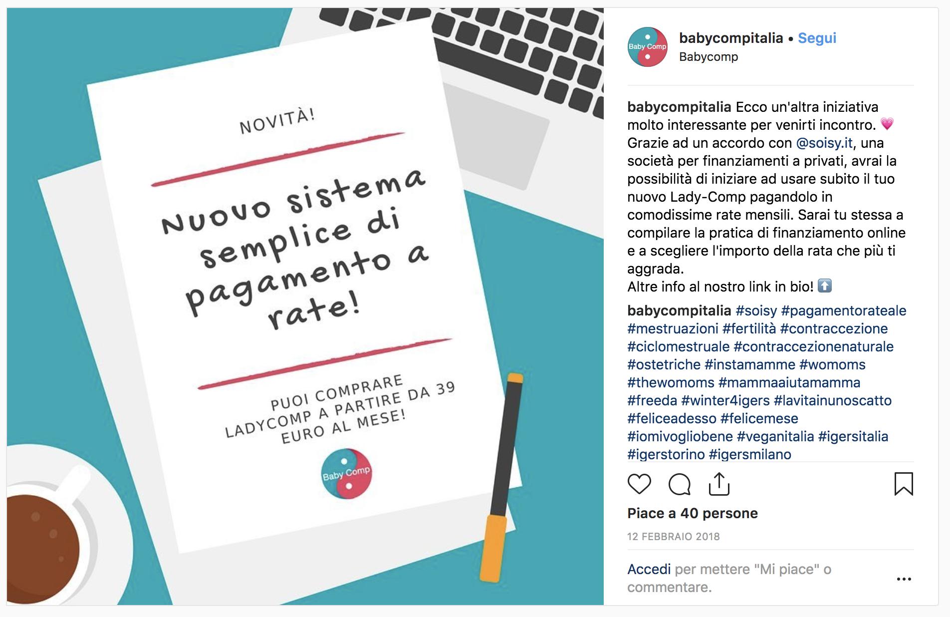 Pagamento rateale Soisy: raccontalo su Instagram